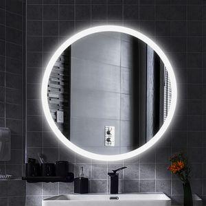 LED Anti-Fog Rund Badspiegel Wandspiegel Mattierter Gürtel kühles Weiß  60*60cm