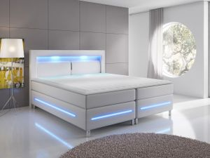 Mirjan24 Boxspringbett Milano, Polsterbett mit Matratze, Stilvoll Doppelbett, LED-Beleuchtung (Farbe: Soft KM 10 Größe: 160x200 cm)
