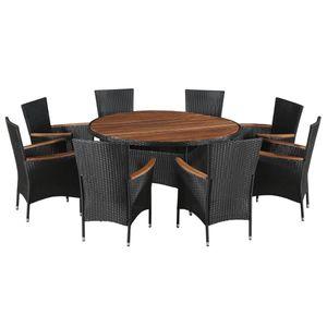 9-teiliges Outdoor-Essgarnitur Garten-Essgruppe Sitzgruppe Tisch + stuhl Poly Rattan Akazie Massivholz Schwarz