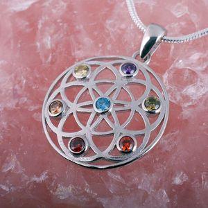 Chakra Anhänger Silber Amulett 'Blume des Lebens'