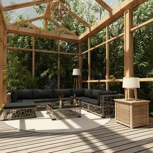 Huicheng Poly Rattan 8-tlg. Garten Lounge Set Sitzgruppe Gartengarnitur Gartenmöbel Sets mit Auflagen Grau
