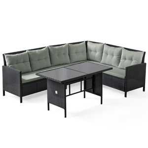 SVITA MADISON Polyrattan Lounge Gartenmöbel Rattan Set in schwarz