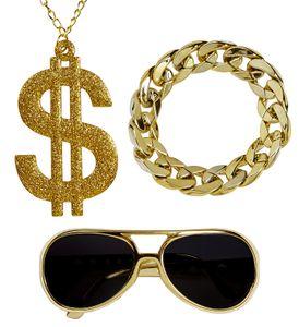 Hustler Rapper Zuhälter Set Brille Kette Armband