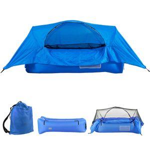 2-in-1 Airbed Tent Aufblasbares Luftsofa mit Baldachin Tragbares Outdoor-Camping-Aufh?ngungszelt-Luftbett fš¹r Rucksacktouren Wanderhinterhof
