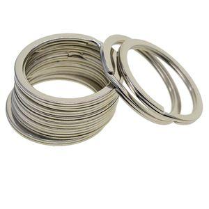 50x silber Runde Flache Schlüsselanhänger Split Ring Schlüsselring für Schlüsselbund 32mm