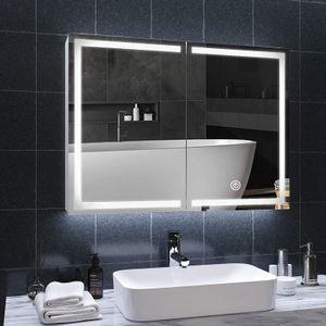 Spiegelschrank Bad mit LED Beleuchtung und Steckdose doppelspiegel 80x13.5x60cm badschrank mit Spiegel Metall spiegelschrank mit ablage,3 Farbtemperatur dimmbare,Berührung Sensorschalter