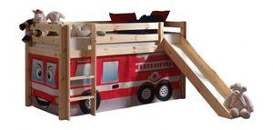 Pino Spielbett  mit Rutsche 90x200 cm Natur /  Feuerwehr, Matratze:Softdeluxe