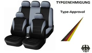 Sitzbezüge Schonbezüge Schonbezug Auto Universal Set Grau mit ABE Zertifikat und StVZO zgelassen
