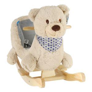 Bieco Plüsch Schaukeltier Bär Creme 62x30x48cm | Schaukelpferd Baby | Schaukeltier Baby | Kinderschaukel Indoor | Baby Wippe | Baby Schaukel | Schaukel Baby Spielzeug ab 1 Jahr | Holz Spielzeug Baby