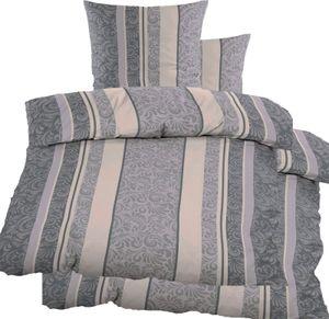 4-tlg. Biber Winter Bettwäsche 2x (135 x 200 + 80x80 cm), 100% Baumwolle, creme grau, Streifen