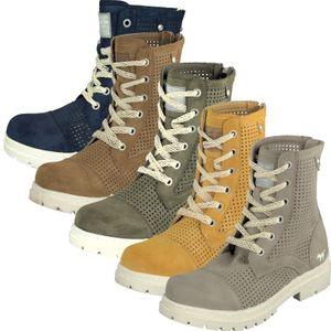 Mustang Damen Schnürstiefelette Combat Boots 1207-506, Größe:38 EU, Farbe:Beige
