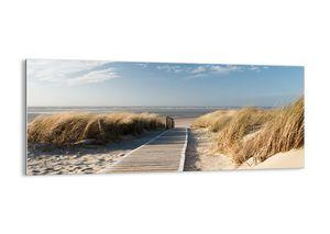 "Glasbild - 120x50 cm - ""Hinter der Düne, im Rascheln des Grases""- Wandbilder  - Meer Strand Düne - Arttor - GAB120x50-2657"