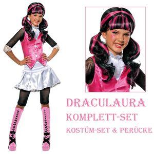 Kinder Draculaura Kostüm & Perücke - Monster High - Größe: L / 140-146 (8-10Jahre)