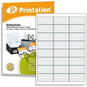 Printation Universal Etiketten für Markierungen 66 x 33,9 mm selbstklebend weiß - 2400 Stück 66x33,9 Labels auf 100 DIN A4 Bogen 3x8 - 4670 FBA