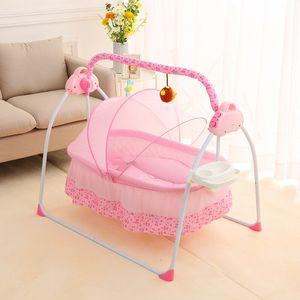 Deluxe Elektrisches Baby Schaukel Stubenwagen Wiege Babybett Babywippe Babyschaukel Bett Kinderbett Space Safe Krippe Wiege 12 Musik Bluetooth + MP3 + USB für 0-18 Monate Baby Schlafen Rose