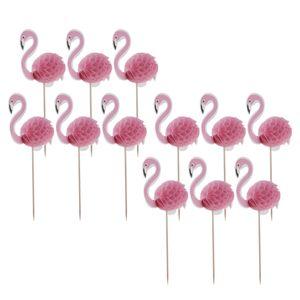 12er-Set Flamingo Kuchendekoration Kuchendeckel Cupcake Topper Tortenaufsatz Muffin Picker