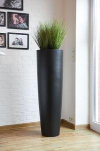 Pflanzkübel Pflanzgefäß Fiberglas PILA Schwarz - 37x120 cm