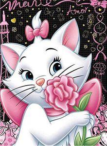 Diamond Painting für Kinder  - Die niedliche Katze mit Blume - 40x50 cm - ohne Rahmen