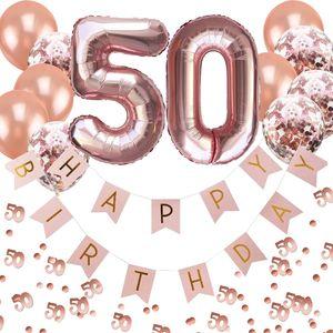 Oblique Unique 50. Geburtstag Party Deko Set - Girlande + Zahl 50 Ballons + Konfetti Luftballon Set + Konfetti