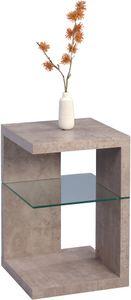 Beistelltisch/Nachttisch Domingo in grau - Nachbildung Betonoptik, Holz - 40 x 40 x 60 cm