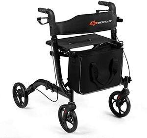 GOPLUS Rollator aus Aluminium, Leichtgewicht - Gehhilfe mit Sitz, Faltbar und H?henverstellbarem Gehwagen für Senioren, mit Doppelten Bremsen, inkl. Breitem Rückengurt und Aufbewahrungstasche