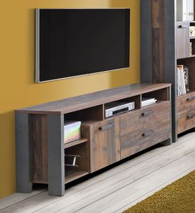 Lowboard TV-Schrank old wood vintage beton dunkelgrau 161cm