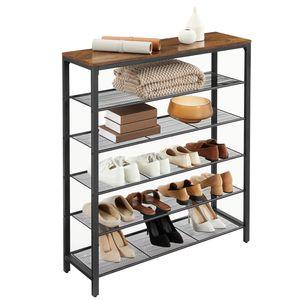 VASAGLE Schuhregal, Schuhablage mit 5 Gitterebenen und großzügiger Oberfläche, Metallgestell, Industrie-Design, vintagebraun-schwarz LBS016B01