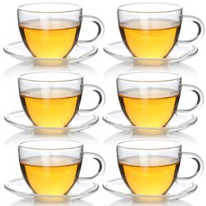 Teeglas Espressoglas mit Untertasse - Teetasse Espressotasse aus Glas - 6 Sets