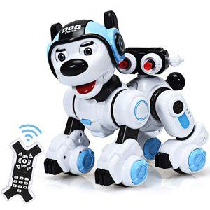 COSTWAY Ferngesteuert Hund Roboter, Roboterhund intelligent, Hundespielzeug programmierbar, Roboter-Spielzeug mit Musikfunktion Tanzt, blinkt, schiesst, fuer Jungen und Maedchen