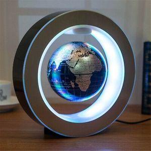 4'' Magnetisch Schwebende Globus Levitation O Form LED Weltkarte Home Deko -Blue