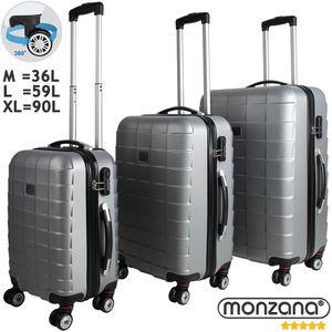 Monzana® 3tlg Koffer Reisekoffer Set Trolley Hartschalenkoffer Reisekofferset XL, Farbe:silber