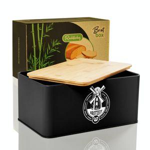 bambuswald© eckige Brotbox - Stigby - 33x21x16,5cm schwarz | Nachhaltiger Brotkasten mit Bambusdeckel - Brotbehälter Brotdose für Croissants, Brot o. Brötchen