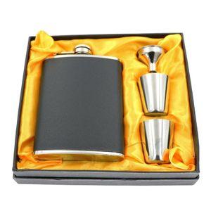 Edelstahl Flachmann-Set Geschenkbox 210ml Taschenflachmann Taschenflasche Flachmann 7oz