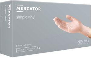 Vinyl-Handschuhe Einmalhandschuhe Gepuderte Reißfest transparent MERCATOR Simple Vinyl, Größe:M - 100 Stück