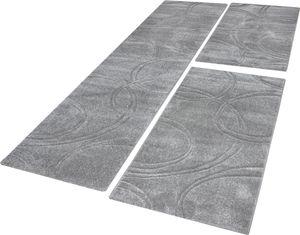 Bettumrandung Teppich Einfarbig mit Handgearbeitetem Konturenschnitt Uni Grau, Grösse:2mal 60x110 1mal  80x300