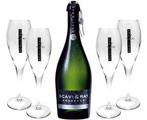 Scavi & Ray Prosecco Frizzante 0,75l (10,5% Vol) + 4x Flöten (10cl) -[Enthält Sulfite]