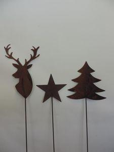 Gartenstecker Edelrost 3 Stück 120 cm Hirsch Tanne Stern Dekostecker Weihnachtsartikel