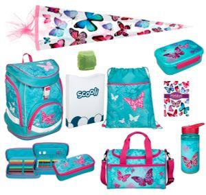 Mädchen Schulranzen  Set 10tlg. Scooli Twixter Up Schulrucksack 1. Klasse Butterfly türkis mit Sporttasche und Schultüte 85cm für die Einschulung / Schulanfang