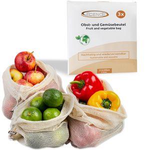 ECENCE Obst- und Gemüsebeutel, 3 Stck. in 3 Größen, wiederverwendbares Einkaufsnetz, Baumwollnet