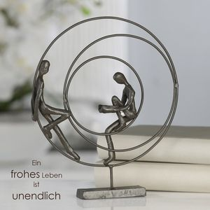 Casablanca Design Skulptur Circles Gußeisen brüniert 23 cm Figur Deko Leben