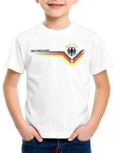 style3 Deutschland EM 2021 2022 Kinder T-Shirt Germany Fußball Europameisterschaft Trikot, Farbe:Weiß, Größe:116