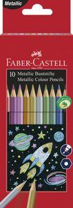 FABER-CASTELL Hexagonal-Buntstifte metallic 10er Kartonetui
