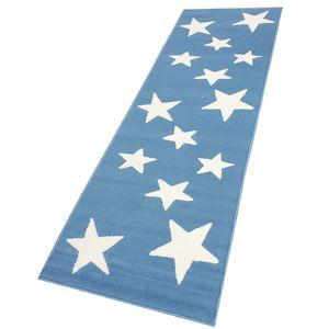 Moderner Läufer Teppich Brücke Teppichläufer Sterne Stars verschiedene Farben ca. 80x250 cm, Größe:80x250 cm, Farbe:himmelblau/creme
