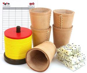 Schocken Set mit Schockenbesteck, 5 Würfelbecher, Würfel und Spielblock