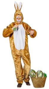 O826-175-190 braun-weiß Damen Herren Hasen Kostüm Bunny Overall Gr.175-190