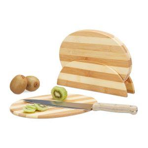 relaxdays Bambus Frühstücksbrettchen gestreift