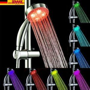 LED Duschkopf mit Schlauch, Handbrause Duschbrause 7 Farben Temperaturkontrolle Farbwechsel Und Halterung