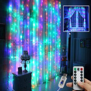 3MX3M 300LED Lichterkette Bunt Lichtervorhang Innen Außen Party Garten Weihnachten Deko mit Fernbedienung