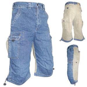 ALPHA INDUSTRIES 3/4 Herren Cord-Jeans Cargohose Blau, Größe:W36