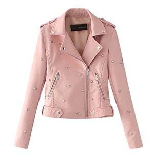 Lässige einfarbige Lederjacke mit langem Revers und Reißverschluss für Damen Größe:L,Farbe:Rosa